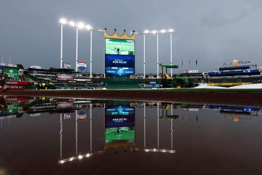 Kansas City's Kauffman Stadium during a rain delay in August 2018.
