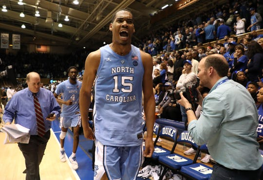 North Carolina's Garrison Brooks reacts after the Tar Heels defeated the Duke Blue Devils 88-72.
