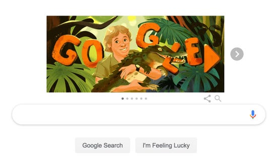 A Google Doodle honoring wildlife conservationist Steve Irwin.