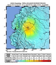 A handout shakemap released by the US Geological Survey (USGS) shows the location of a 7.5 magnitude earthquake that hit near Ambato, Ecuador, near the border with Peru, 22 February 2019. According to initial reports, the tremor was felt in parts of Ecuador, Peru and Colombia.