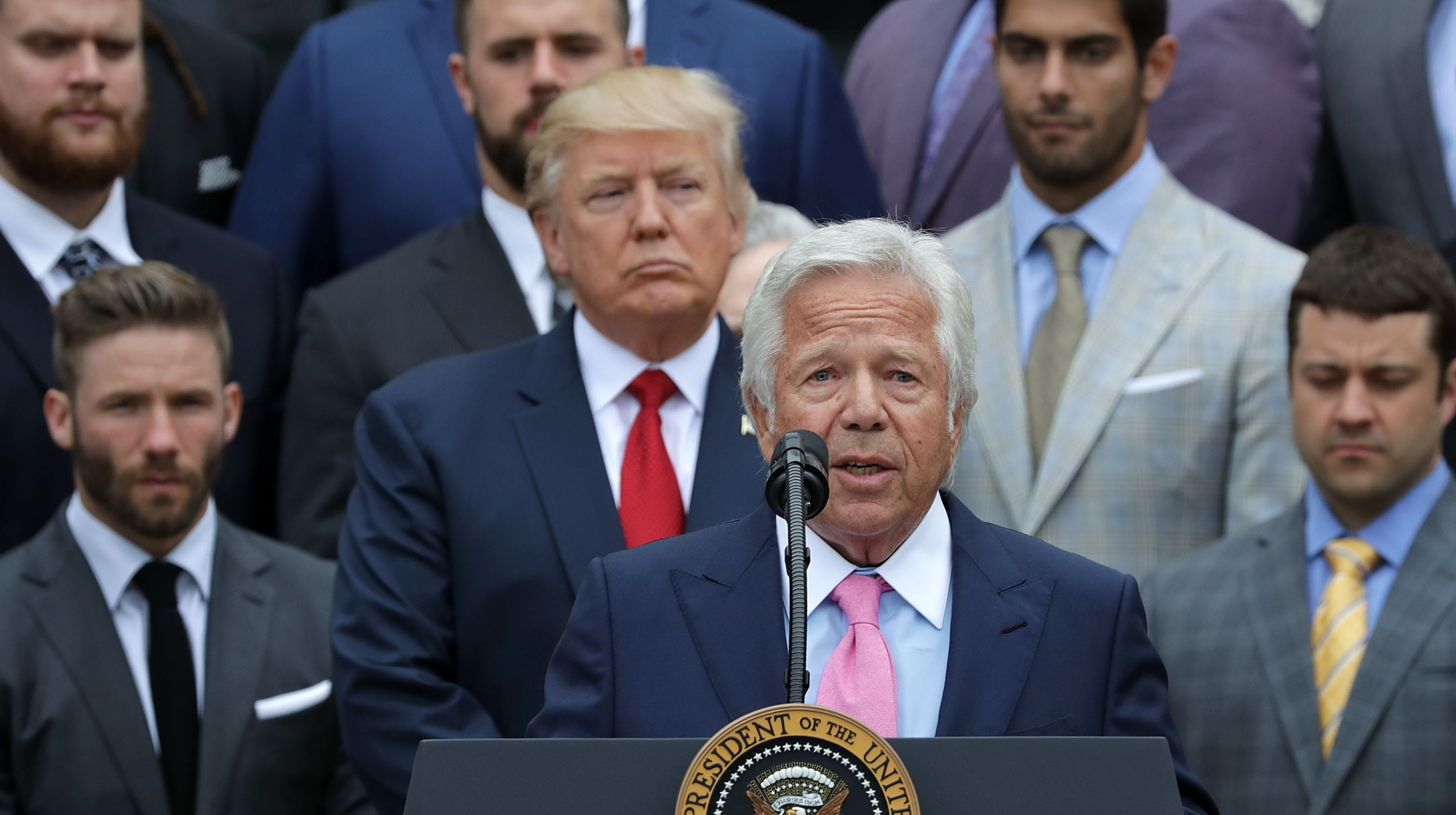 Kraft delivers remarks during an event...