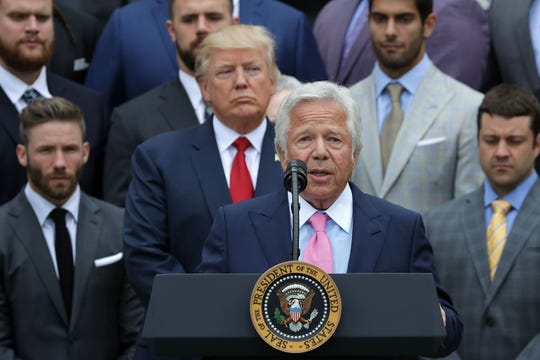 Kraft delivers remarks during an event celebrating the team's Super Bowl win hosted by U.S. President Donald Trump on the South Lawn at the White House.