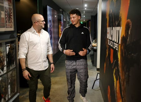 John Rafacz (L) and Patrick Mahomes tour Treyarch during 'Call Of Duty: Black Ops 4' event on February 19, 2019 in Santa Monica, California.