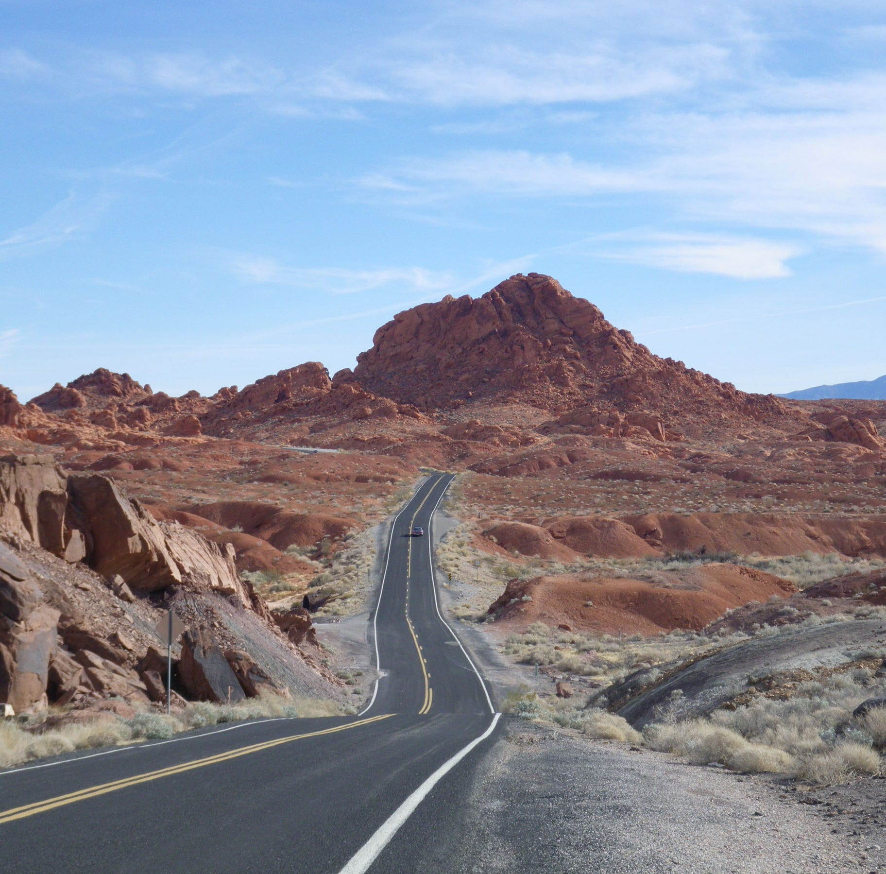 A two-lane highway in Nevada's Valley of Fire. The state is known for its empty highways -- and once had no speed limit