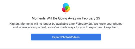 Screen shot Facebook Moments