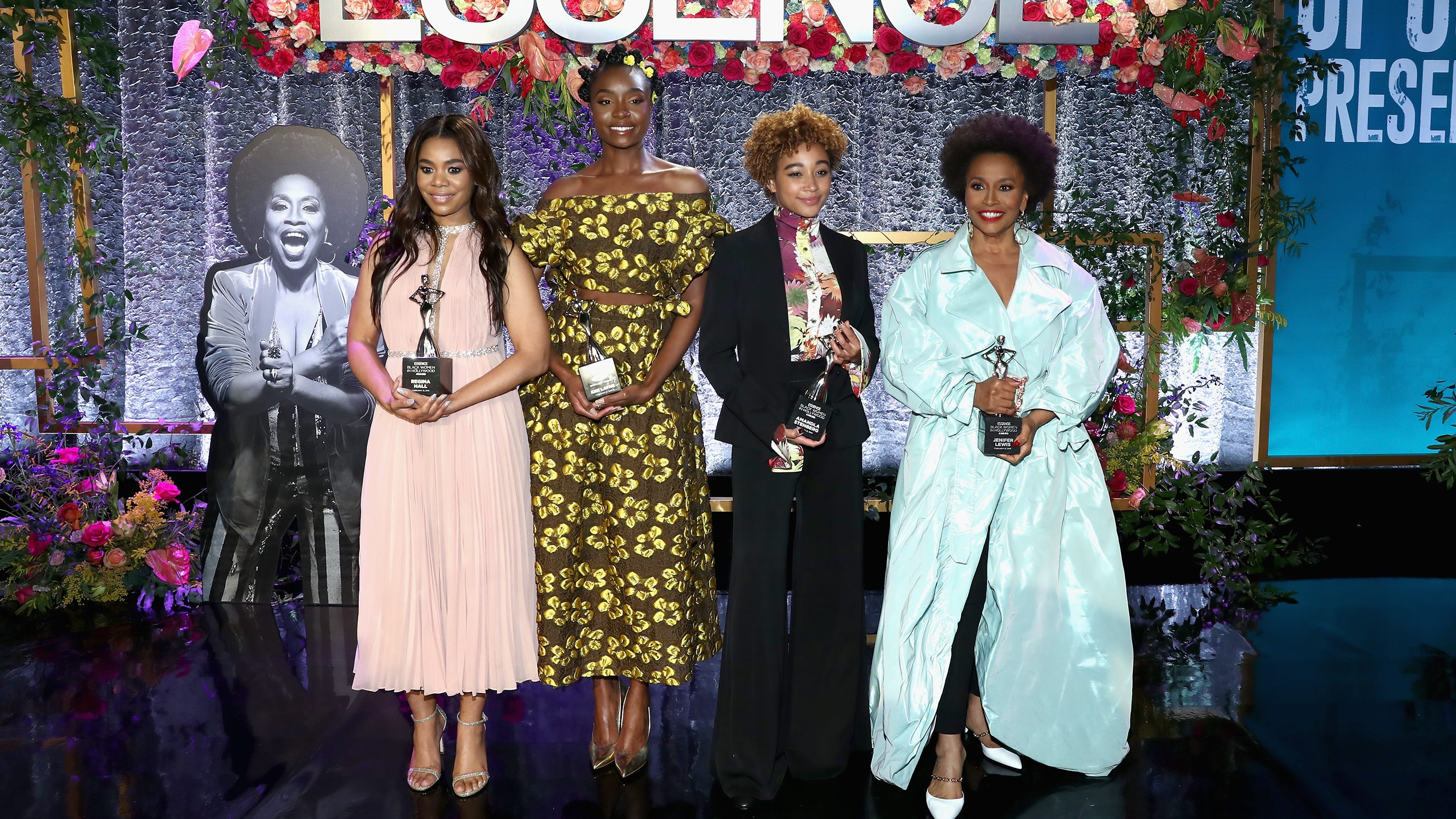 BEVERLY HILLS, CA - FEBRUARY 21: (L-R) Honorees Regina Hall, KiKi Layne, Amandla Stenberg, and Jenifer Lewis attend the 2019 Essence Black Women in Hollywood Awards Luncheon at Regent Beverly Wilshire Hotel on February 21, 2019 in Los Angeles, California. (Photo by Rich Polk/Getty Images for Essence) ORG XMIT: 775299567 ORIG FILE ID: 1126624649