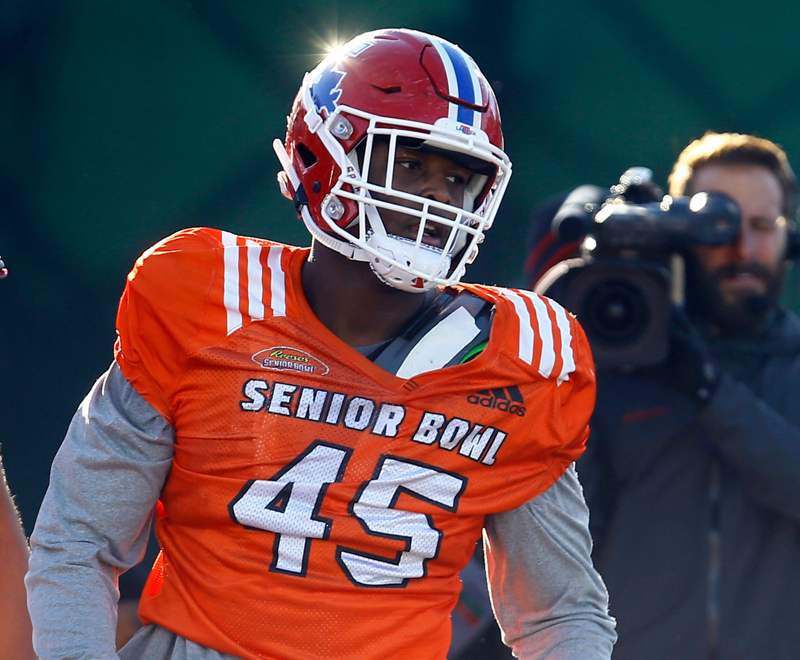 Jaylon Ferguson takes part in practice for the Senior Bowl.
