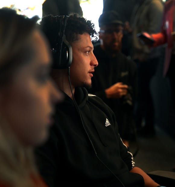 Patrick Mahomes visits Treyarch to play 'Call Of Duty: Black Ops 4' on February 19, 2019 in Santa Monica, California.