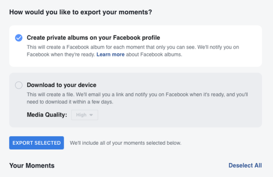 Facebook gives users two options to export photos from app