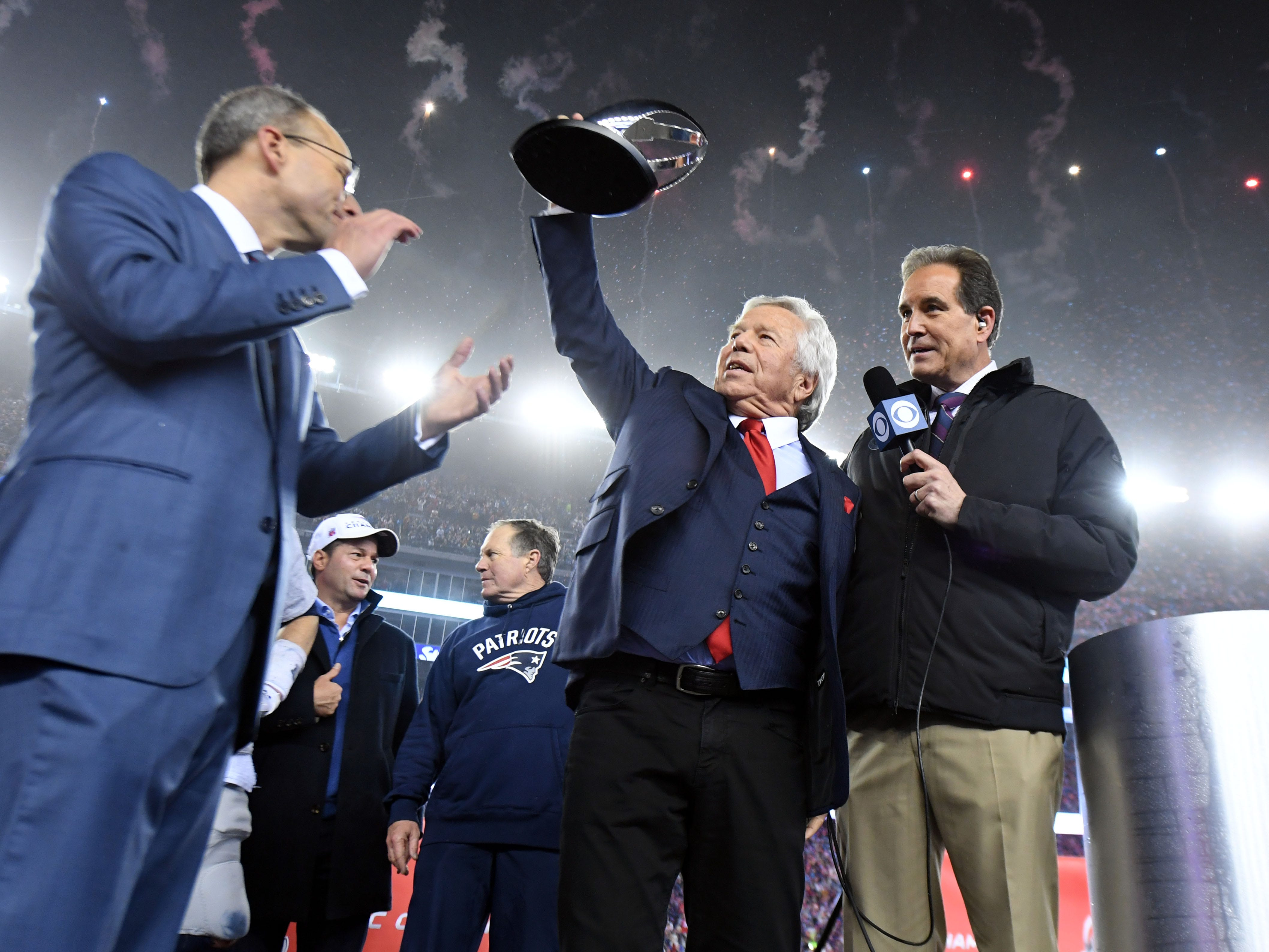Kraft celebrates after beating the Pittsburgh Steelers in the 2017 AFC Championship Game at Gillette Stadium.