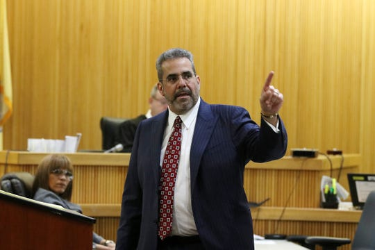 Carlos Diaz-Cobo, defense attorney, makes his closing arguments during the trial of Liam McAtasney, who is charged with the murder of former high school classmate, Sarah Stern, before Superior Court Judge Richard W. English at the Monmouth County Courthouse in Freehold, NJ Friday, February 22, 2019.