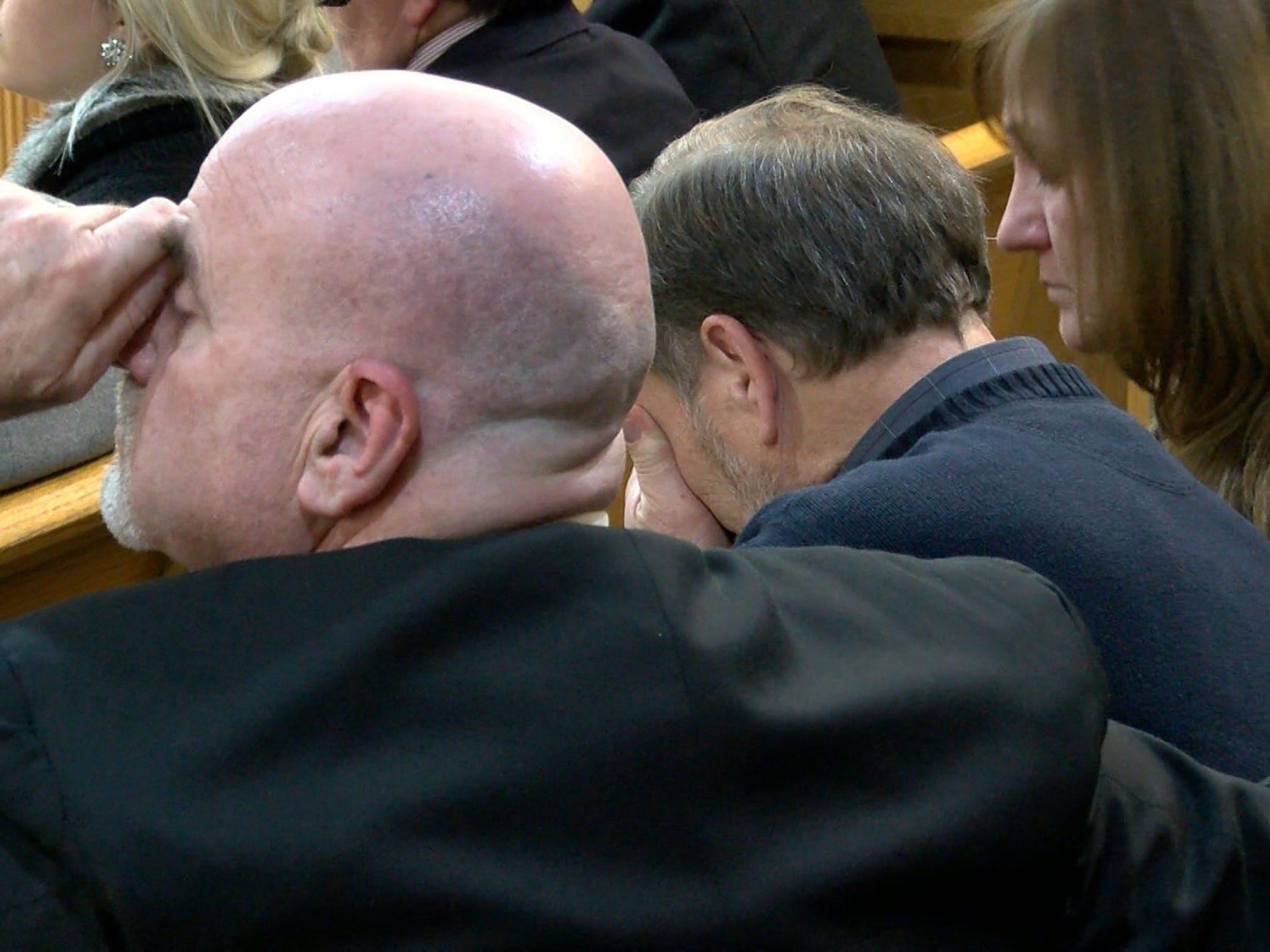 Michael Stern buries his face in his hand as Monmouth County Assistant Prosecutor Chris Decker recounts how Liam McAtasney described the murder of his daughter during closing statements Friday, February 22, 2019.  Liam McAtasney is on trial for the murder of Sarah Stern.