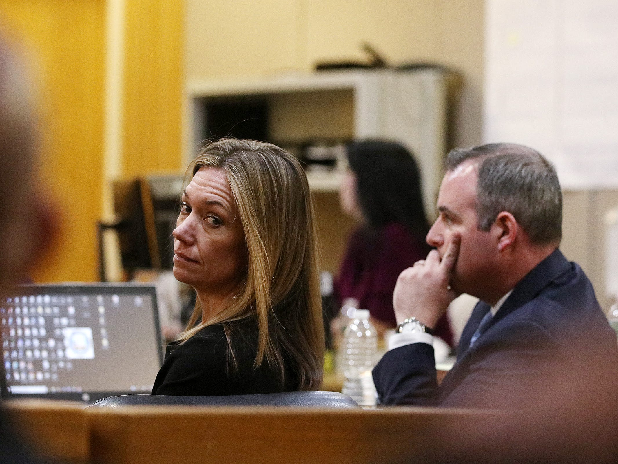 Meghan Doyle and Christopher Decker, both assistant Monmouth County prosecutors, listen as Carlos Diaz-Cobo, defense attorney, makes his closing arguments during the trial of Liam McAtasney, who is charged with the murder of former high school classmate, Sarah Stern, before Superior Court Judge Richard W. English at the Monmouth County Courthouse in Freehold, NJ Friday, February 22, 2019.