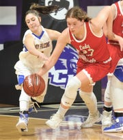 Veribest's Zoe Bratcher, left, battles Hermleigh's Makia Gonzales for a loose ball during their Region II-1A girls basketball semifinal game Friday,  Feb. 22, 2019, at ACU's Moody Coliseum.