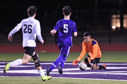 Wylie keeper Victor Charo (0) tracks in the ball ahead of Andrew Kerestly (5) and a Wichita Falls Rider attacker in District 4-5A play at Bulldog Stadium on Feb. 22, 2019.