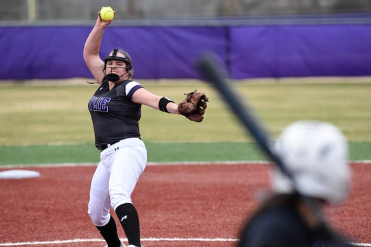 Wylie's Bailey Buck (4) pitches against Big Spring at Lady Bulldog Field on Feb. 22, 2019.