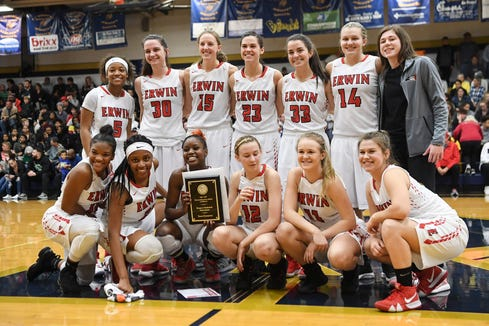 Erwin defeated Asheville 43-42 in the WMAC tournament championship at Roberson High February 22, 2019.