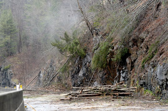 Rocks, trees and other debris cover I-40 at mile marker 7.5 on Feb. 23, 2019, a day after the rockslide closed the highway in both directions.