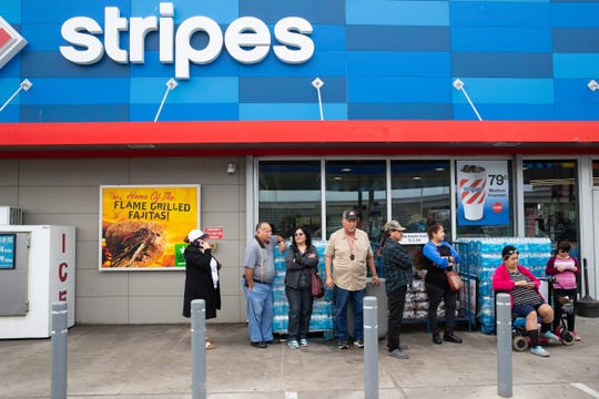 A group of people stand inline for to buy Stripes' Selena cups at the Stripes location along South Padre Island Drive near Old Brownsville Road on Saturday, Feb. 23, 2019.