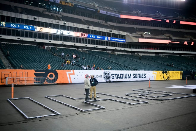 The Philadelphia Flyers practice at Lincoln Financial Field Friday, Feb. 22, 2019 before Stadium Series game against the Penguins.