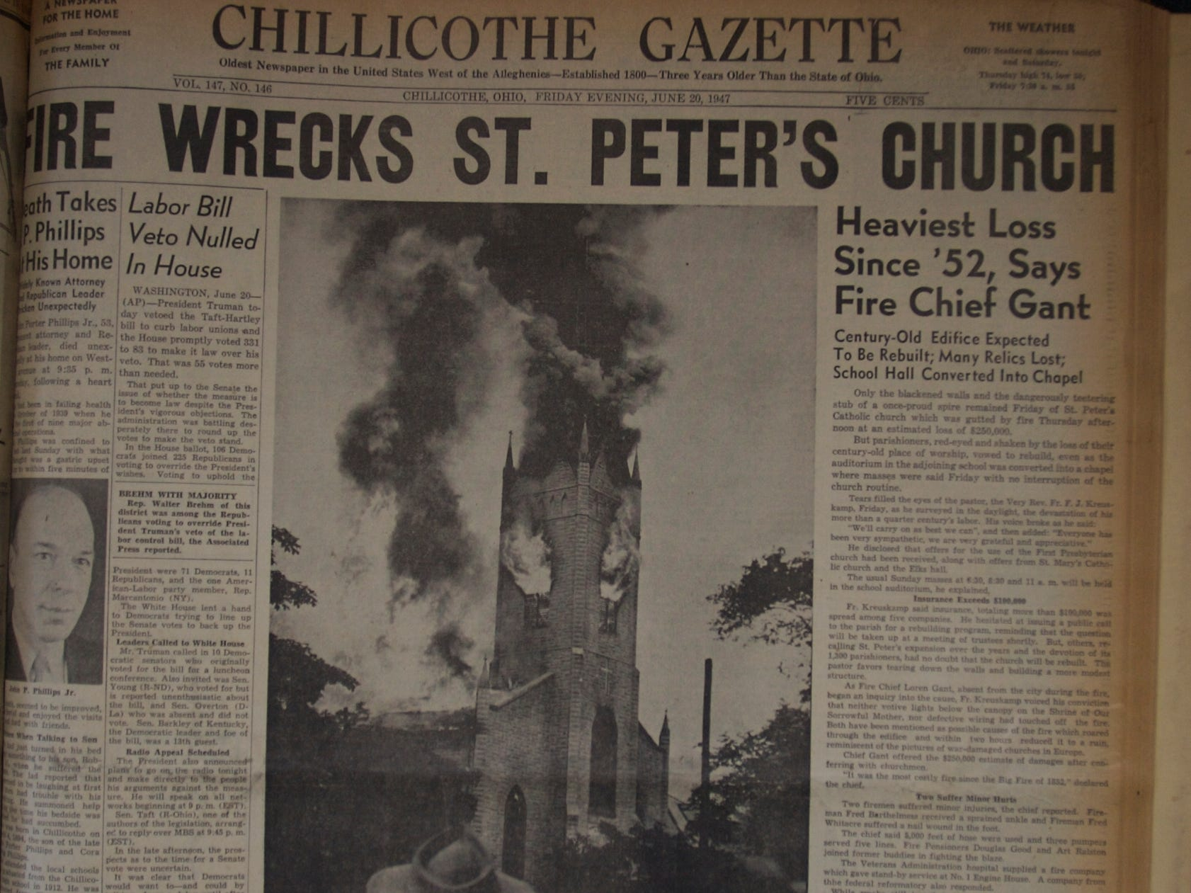 In 1947, the fire at St. Peter's Church prompted the city's adoption of a fire code for businesses and public buildings.