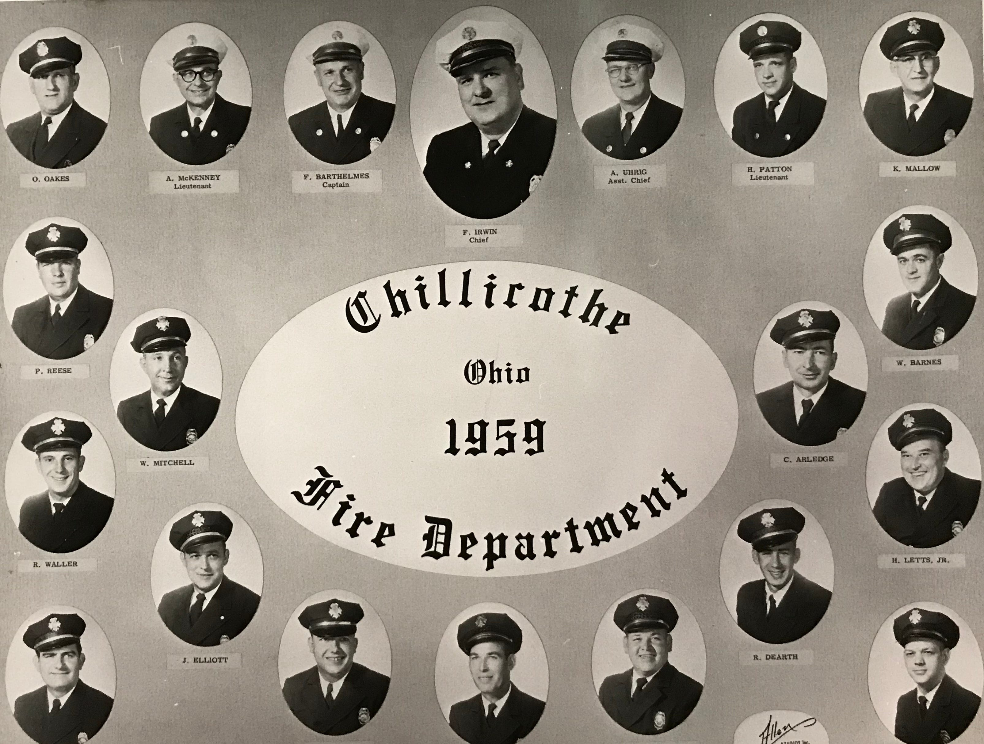 Composite of Chillicothe firefighters in 1959.
