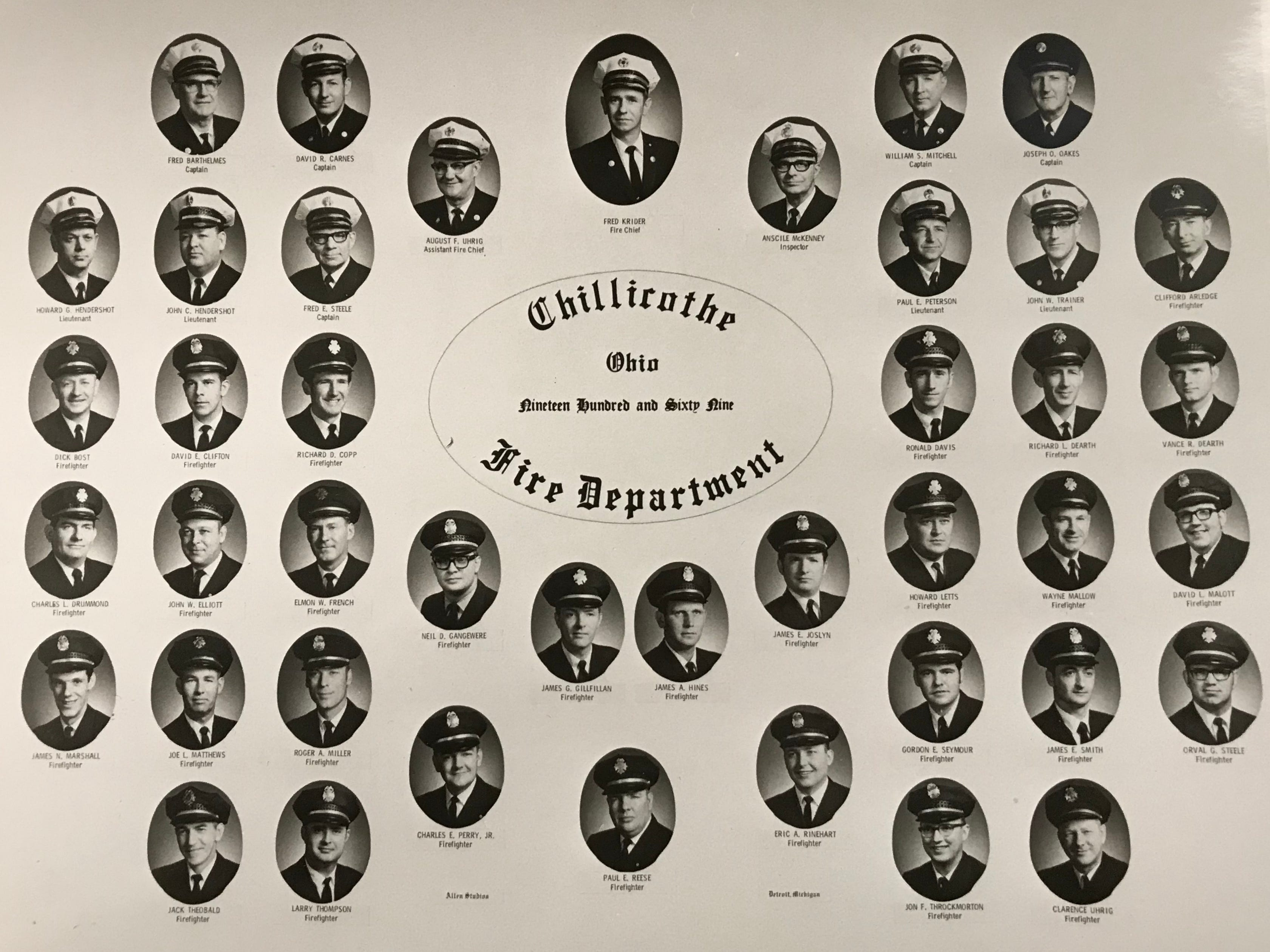 A composite of the members of the Chillicothe Fire Department in 1965.