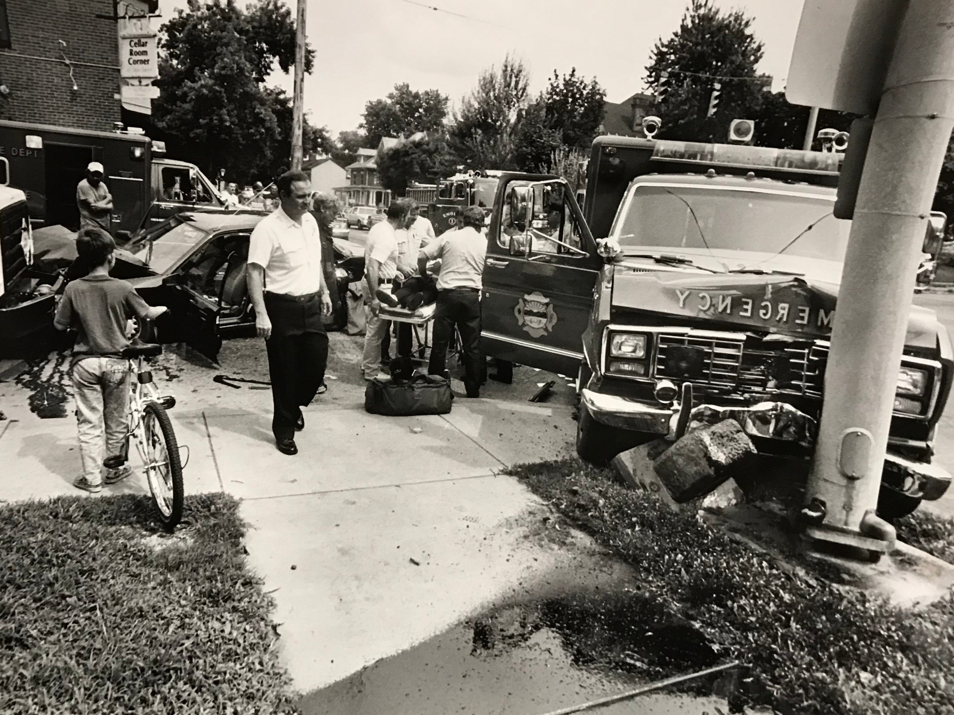 This undated Gazette file photo shows a crash involving an ambulance at the corner of High and Water streets.