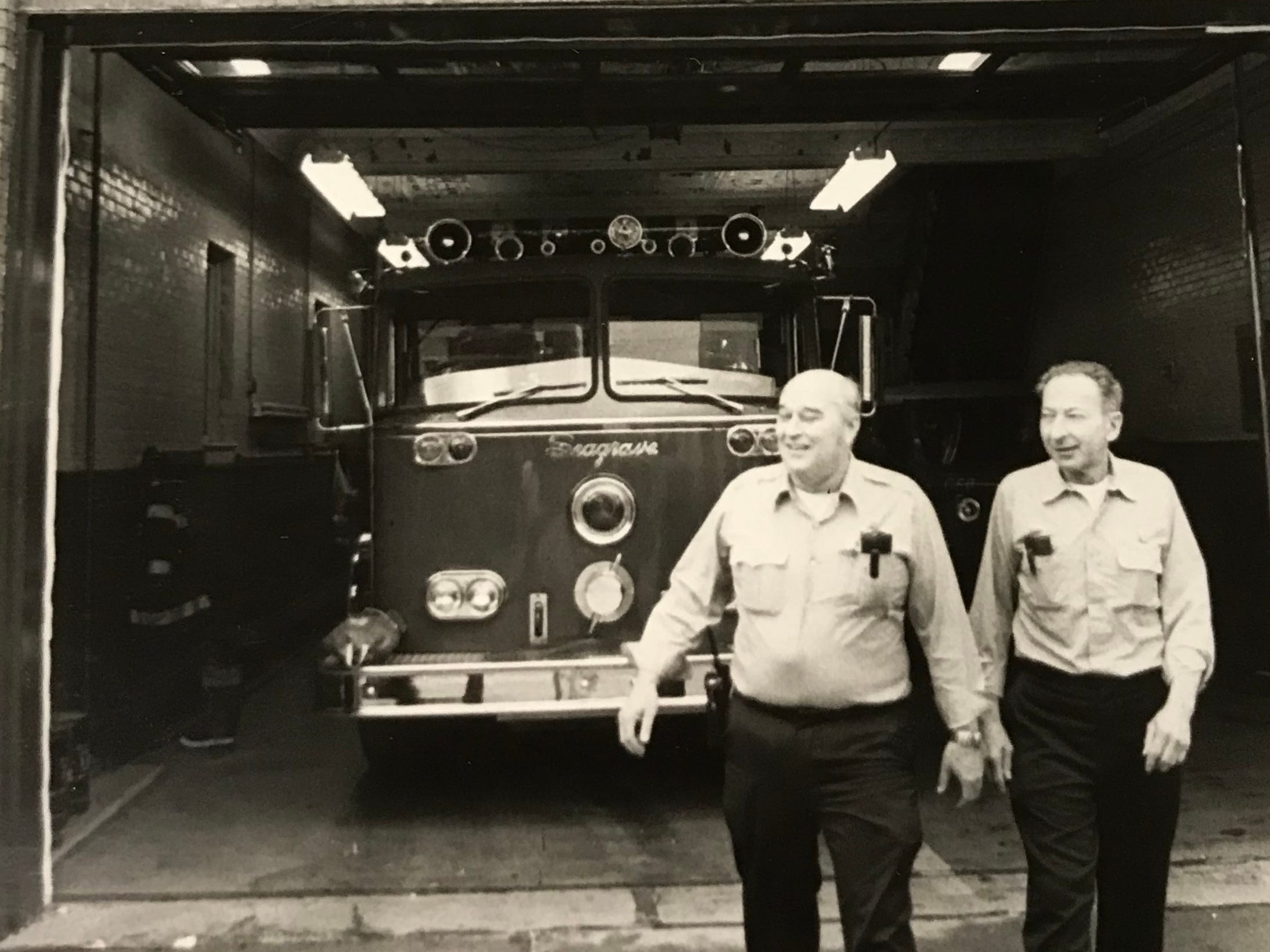 In April 1982, Howard Letts Jr., left, and Cliff Arledge walk away from 30 years of firefighting for the Chillicothe Fire Department as fellow firemen call farewell.