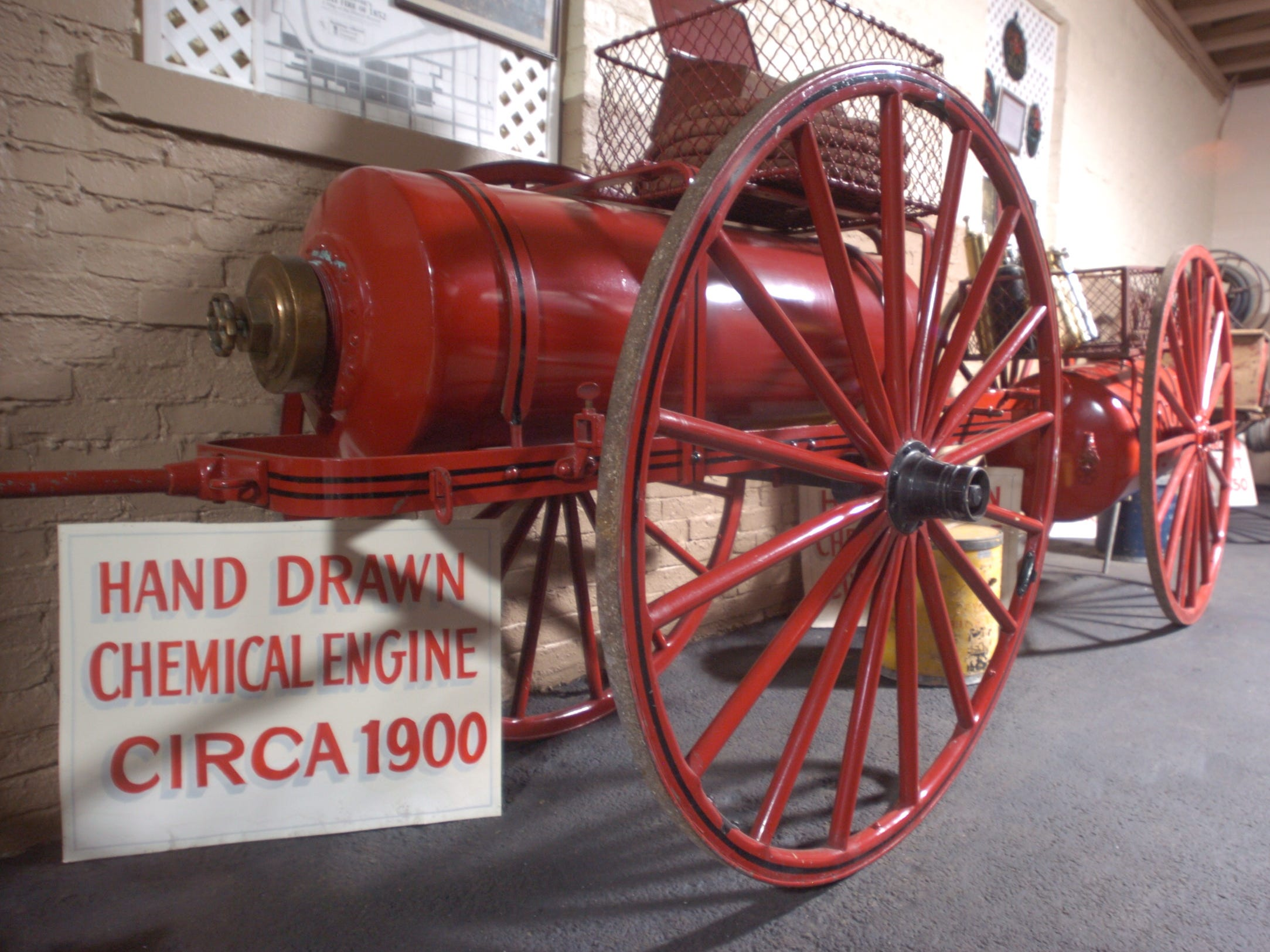 This hand drawn chemical engine from around 1900 is among the items on display at the Phoenix Firehouse Museum on East Second Street.