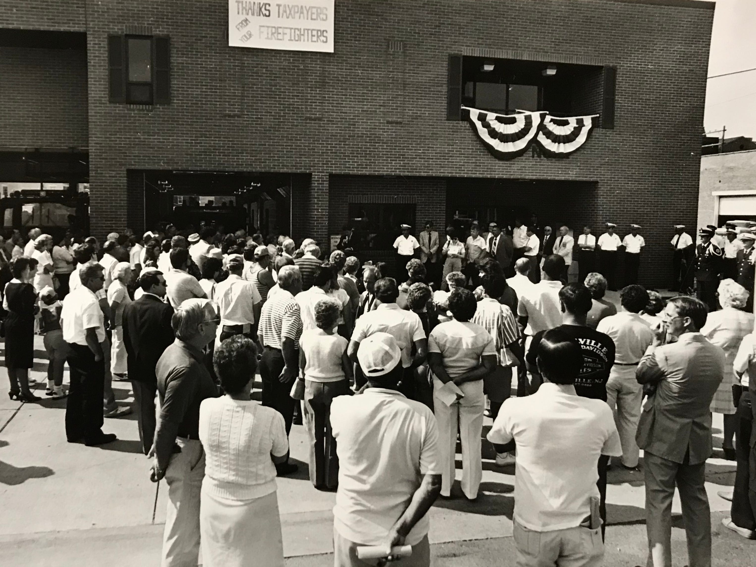 In August 1986, a celebration was conducted for the opening of the new Station 1 on Water Street. The $1.4 million project replaced the East Second Street station.