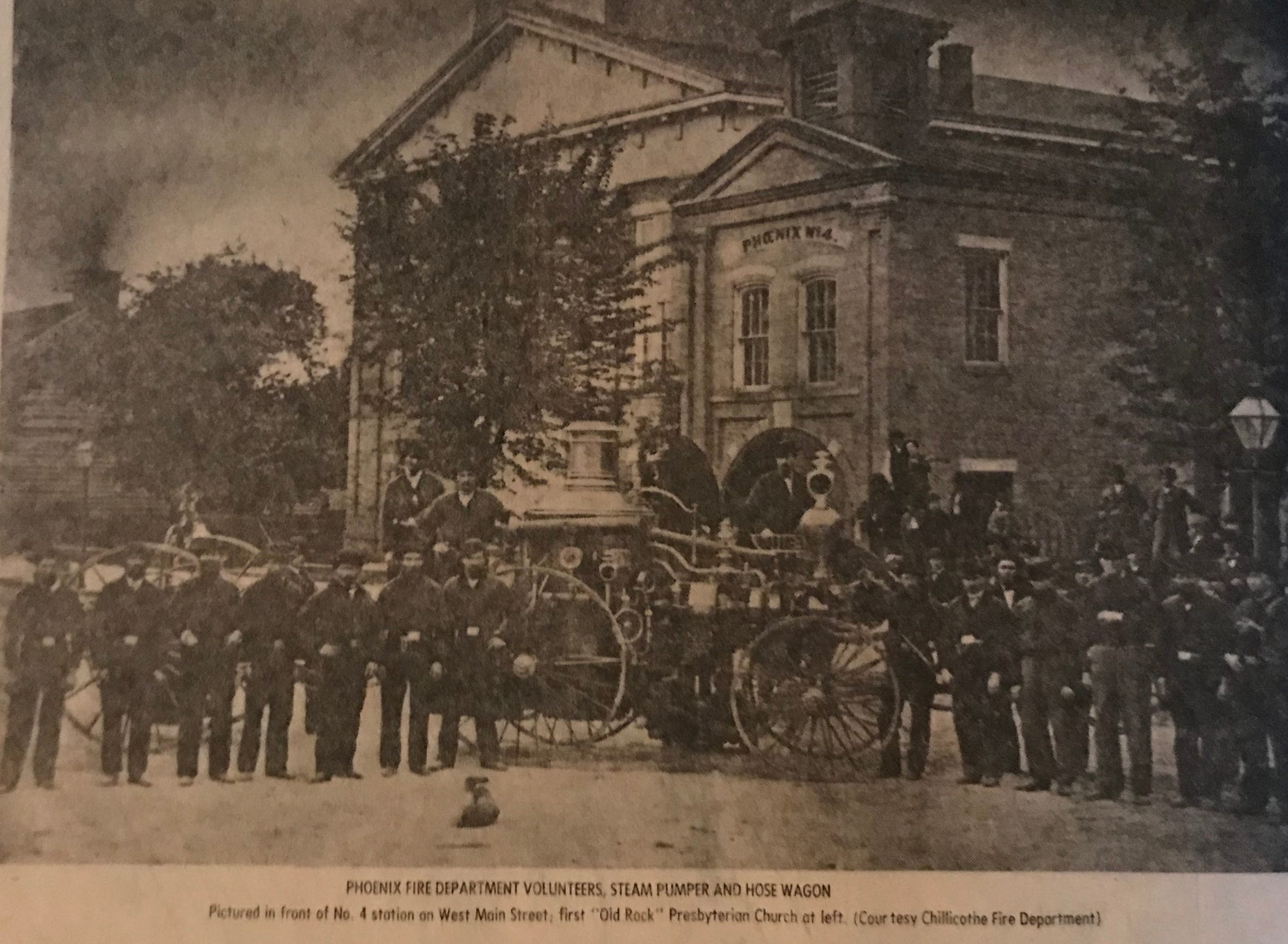 Before the Chillicothe Fire Department was formed in 1879, the city was served by volunteer outfits including the Phoenix Fire Department pictured here on West Main Street in front of their station by the Presbyterian Church.