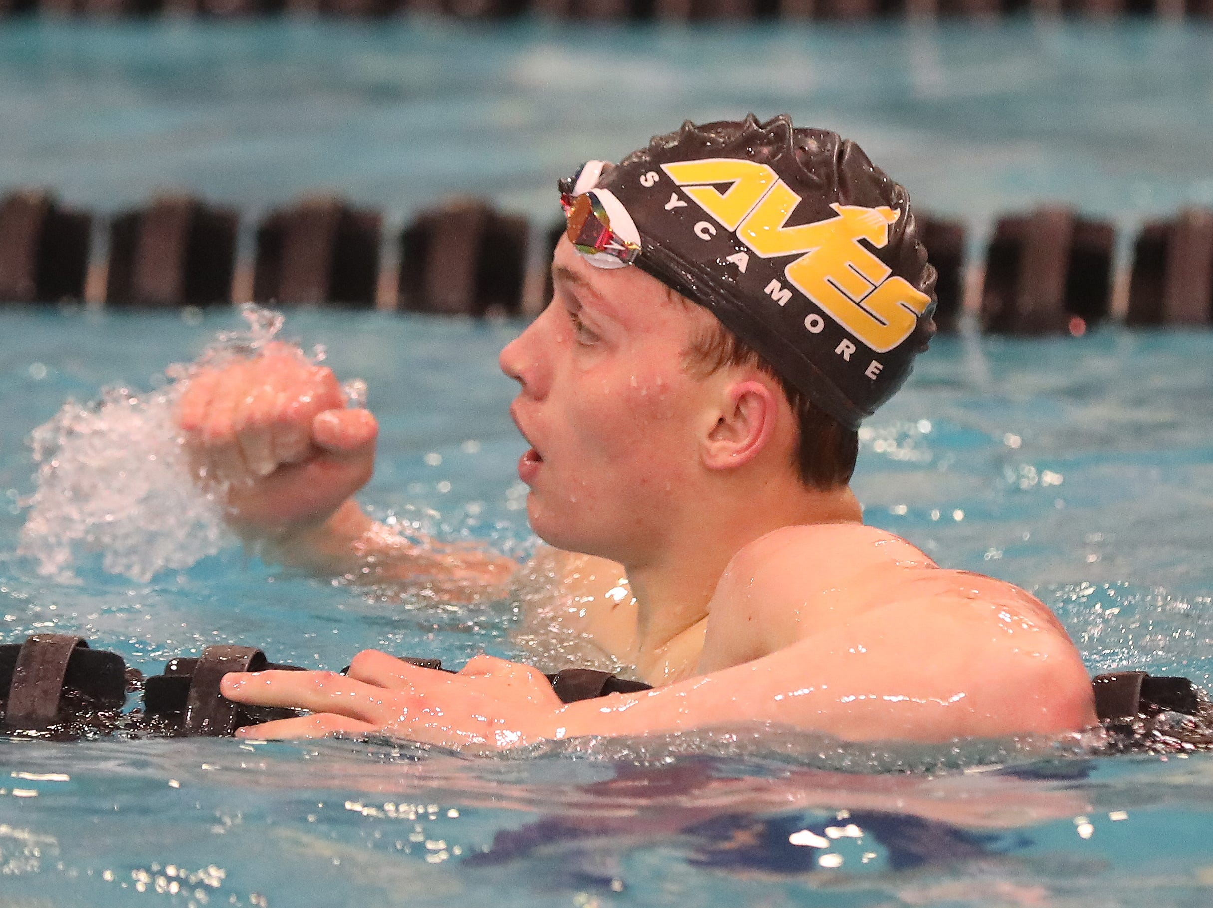 Sycamore swimmer Carson Foster reacts after setting a National Record in the  boys 200 yard freestyle at the Swimming and Diving Championships in Canton Ohio,  Saturday, Feb. 23,2019.