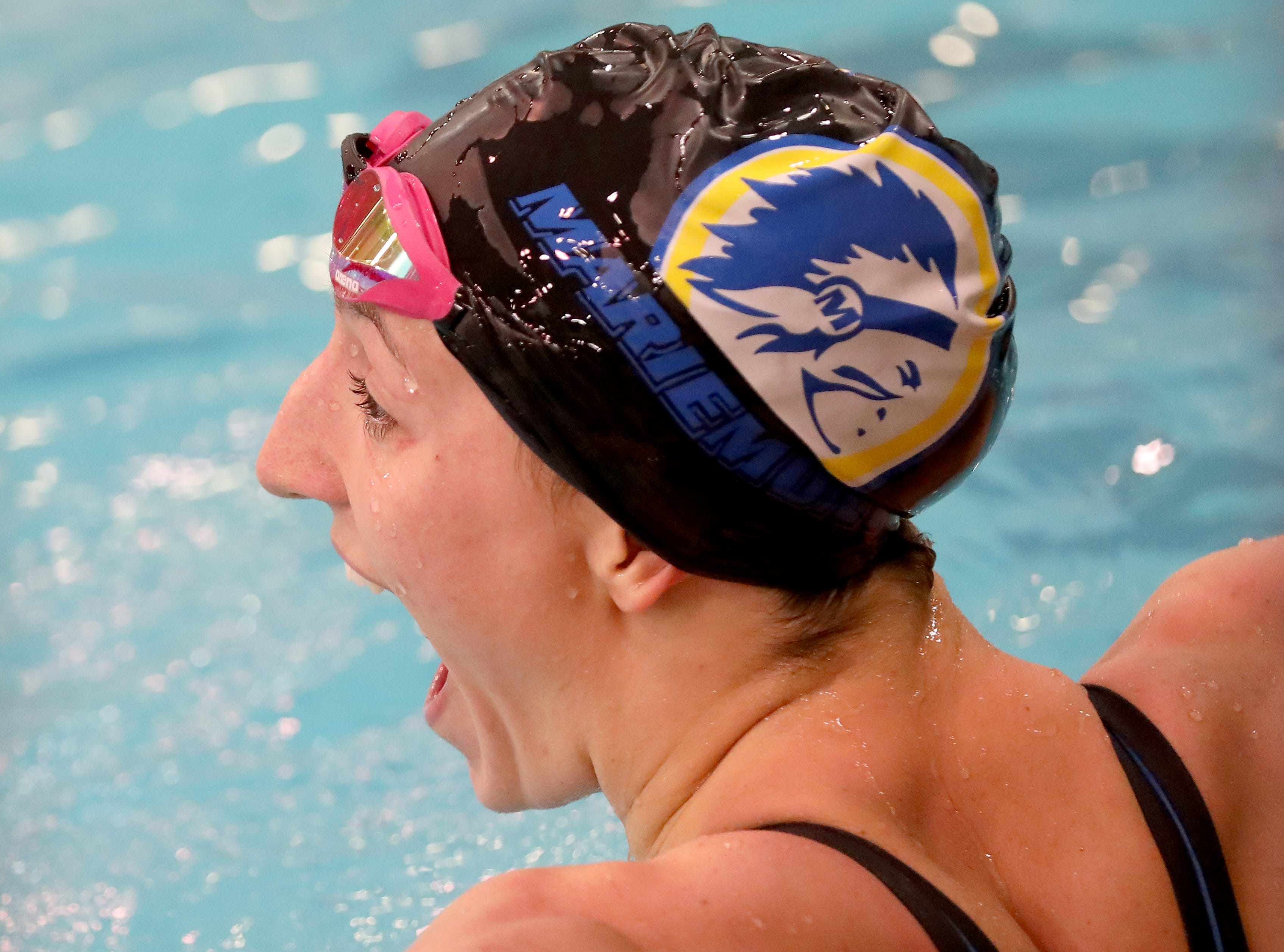 Mariemont swimmer Cora Dupre reacts after winning her second state title at the OHSAA Swimming and Diving Championships in Canton, Ohio, Friday, Feb. 22, 2019