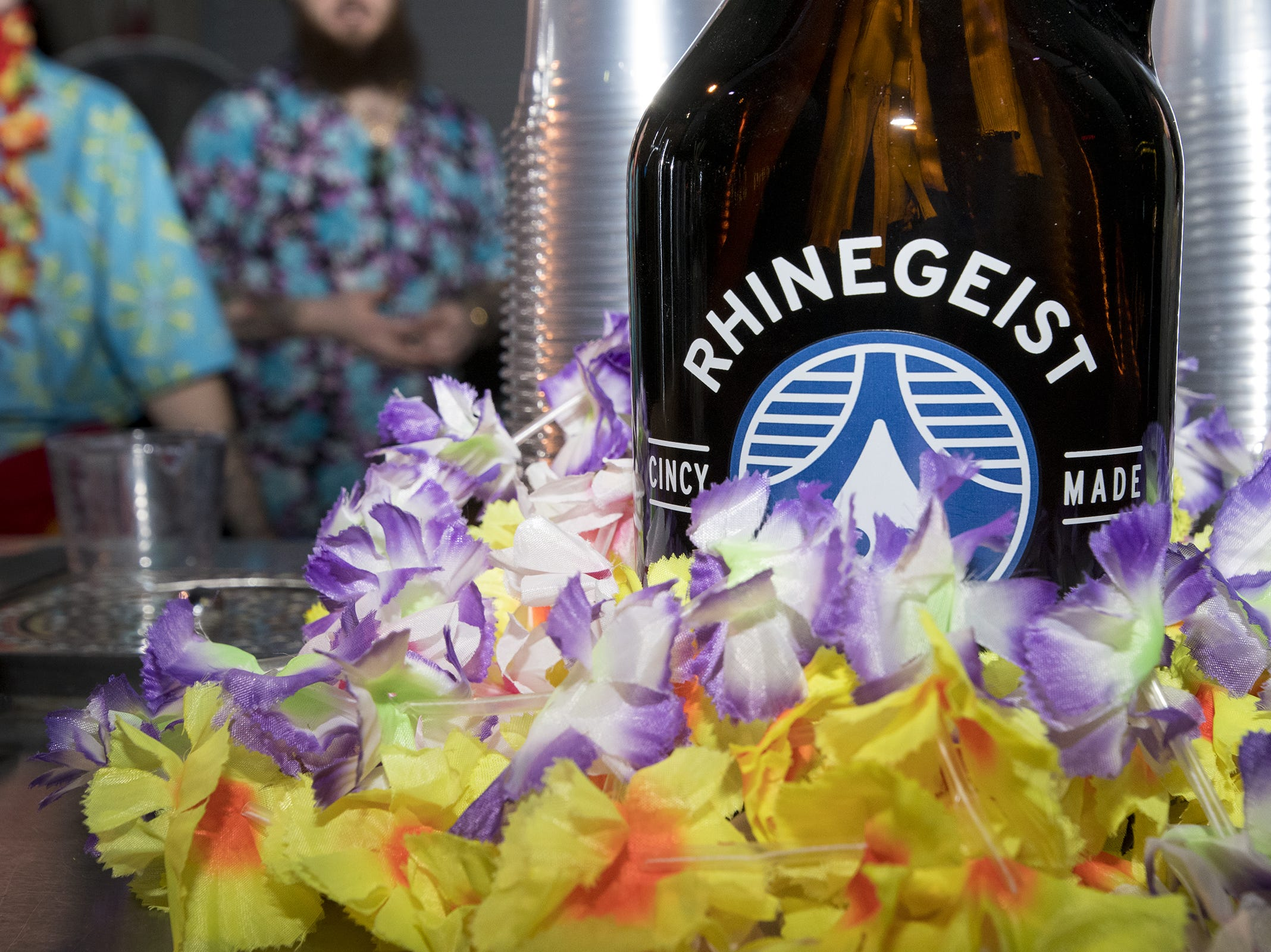Leis decorate a special bar that serves up fruity creations during the tropical disco at Rhinegeist.