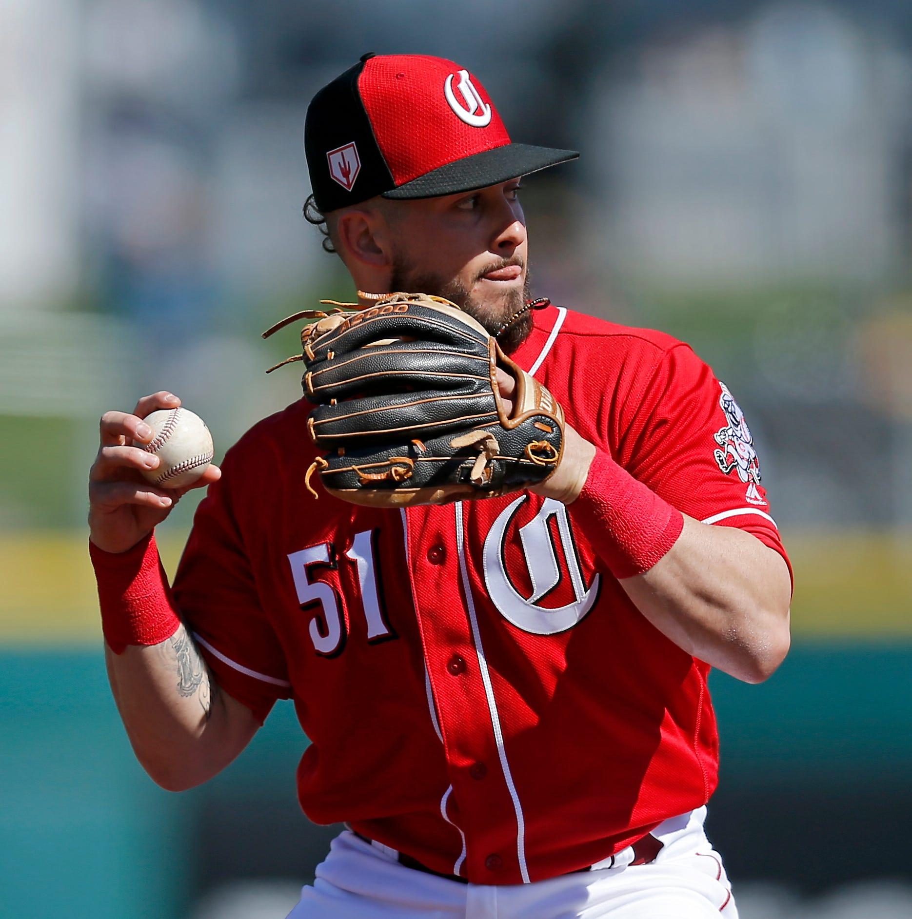 Louisville Bats' Blake Trahan receives Gold Glove trophy