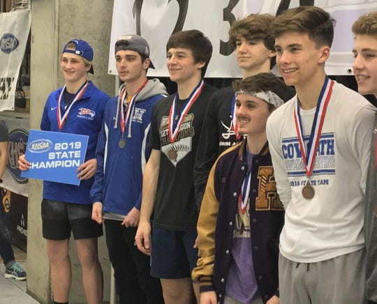 CovCath's Logan Smith and Highlands' Finn Murphy finished 1-2 in state diving, 2019 state meet.