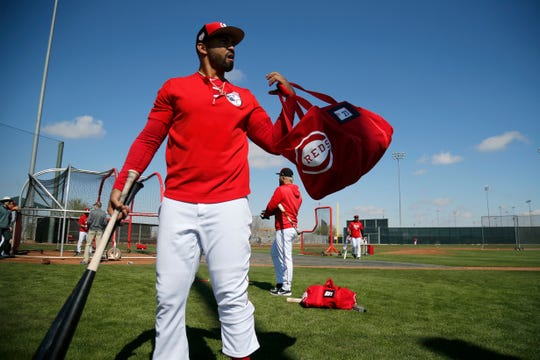 Cincinnati Reds designated hitter Matt Kemp (27) packs up after taking batting practice at the Cincinnati Reds spring training facility in Goodyear, Ariz., on Saturday, Feb. 23, 2019.