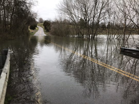 Chapel Hill Road at Hurricane Creek Bridge was flooded Friday morning, Feb. 22, 2019.