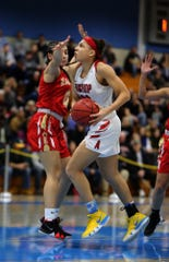 Bishop Ahr vs. Edison in the GMC Tournament girls basketball final on Friday, Feb. 22, 2019 at Middlesex County College.