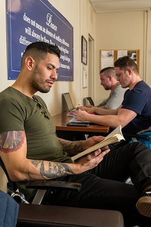 Students who served in the military can relax, socialize and study in Kean University's Veterans Services Lounge.