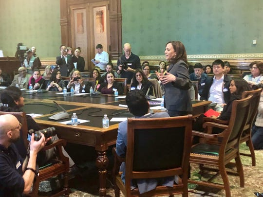 California senator and presidential candidate Kamala Harris speaks to the Asian & Latino Coalition in Des Moines.