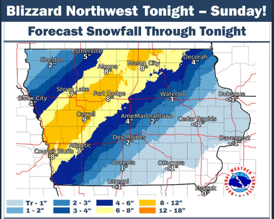 This National Weather Service graphic shows expected snowfall totals in Iowa resulting from Saturday night's storm.