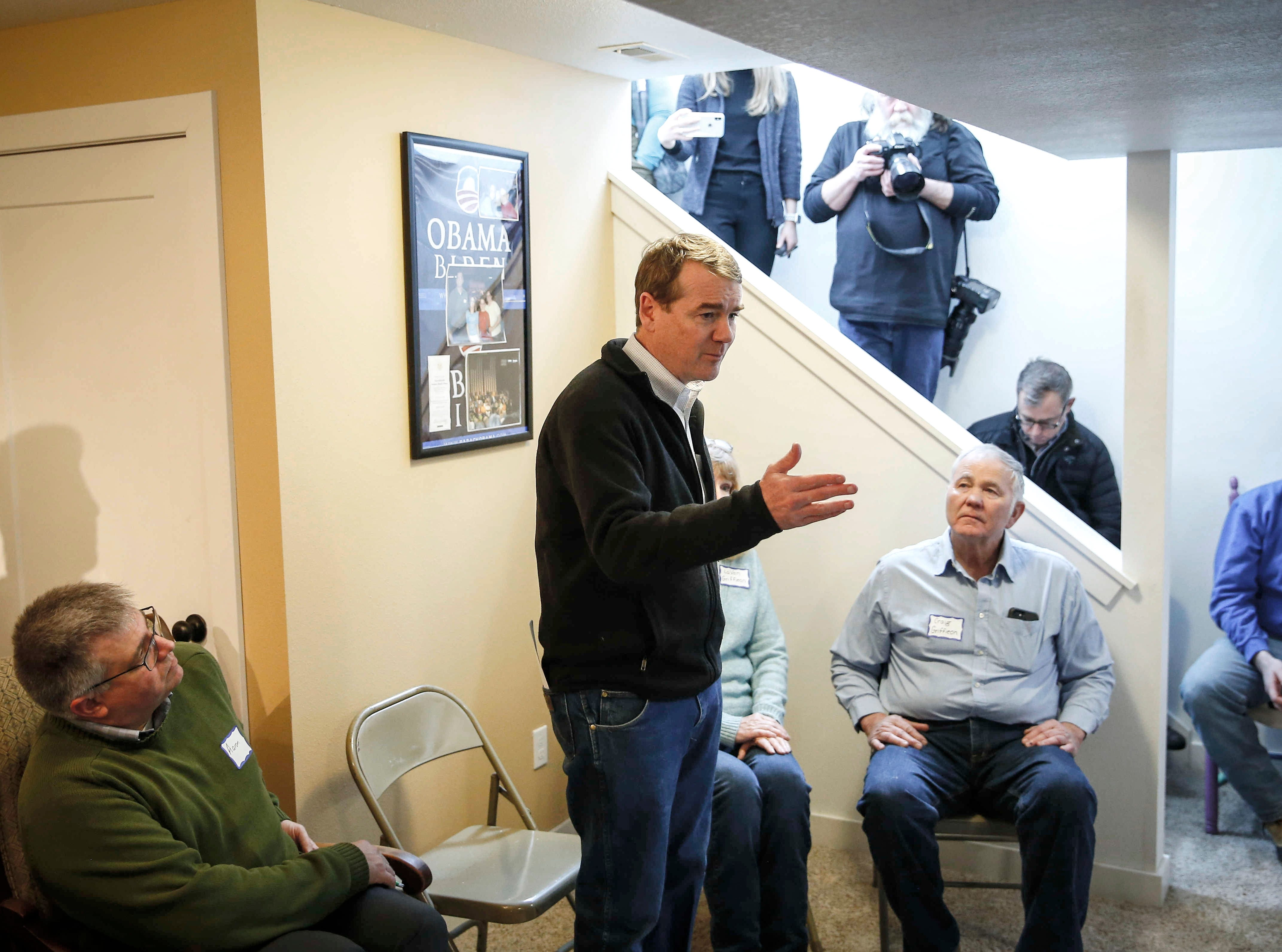 United States Sen. Michael Bennet from Colorado talks about subjects near and dear to the hearts of rural Iowans on Saturday, Feb. 23, 2019, at the Lehman farm in rural Polk City.