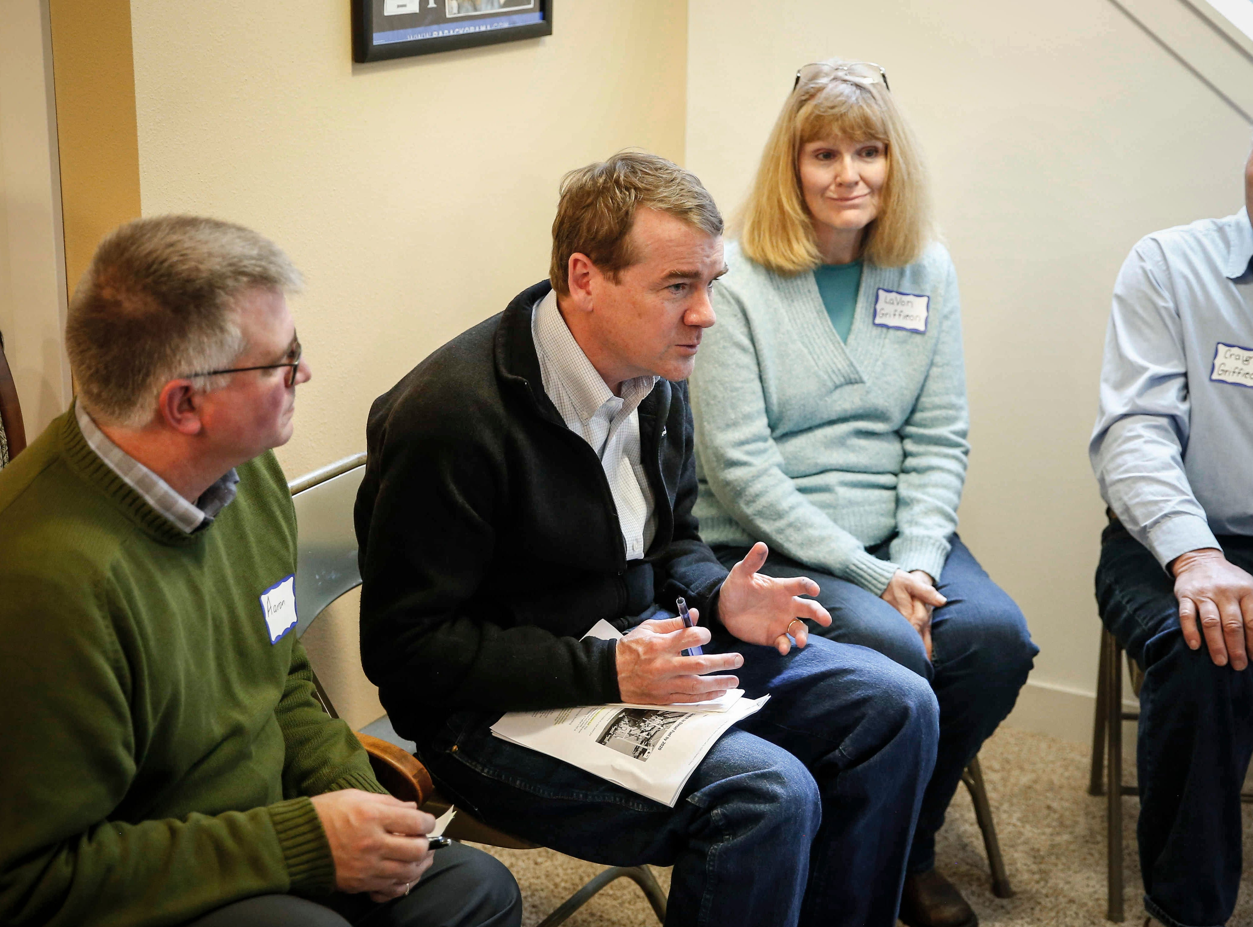 United States Sen. Michael Bennet from Colorado talks about subjects on the minds of rural Iowans on Saturday, Feb. 23, 2019, at the Lehman farm in rural Polk City.