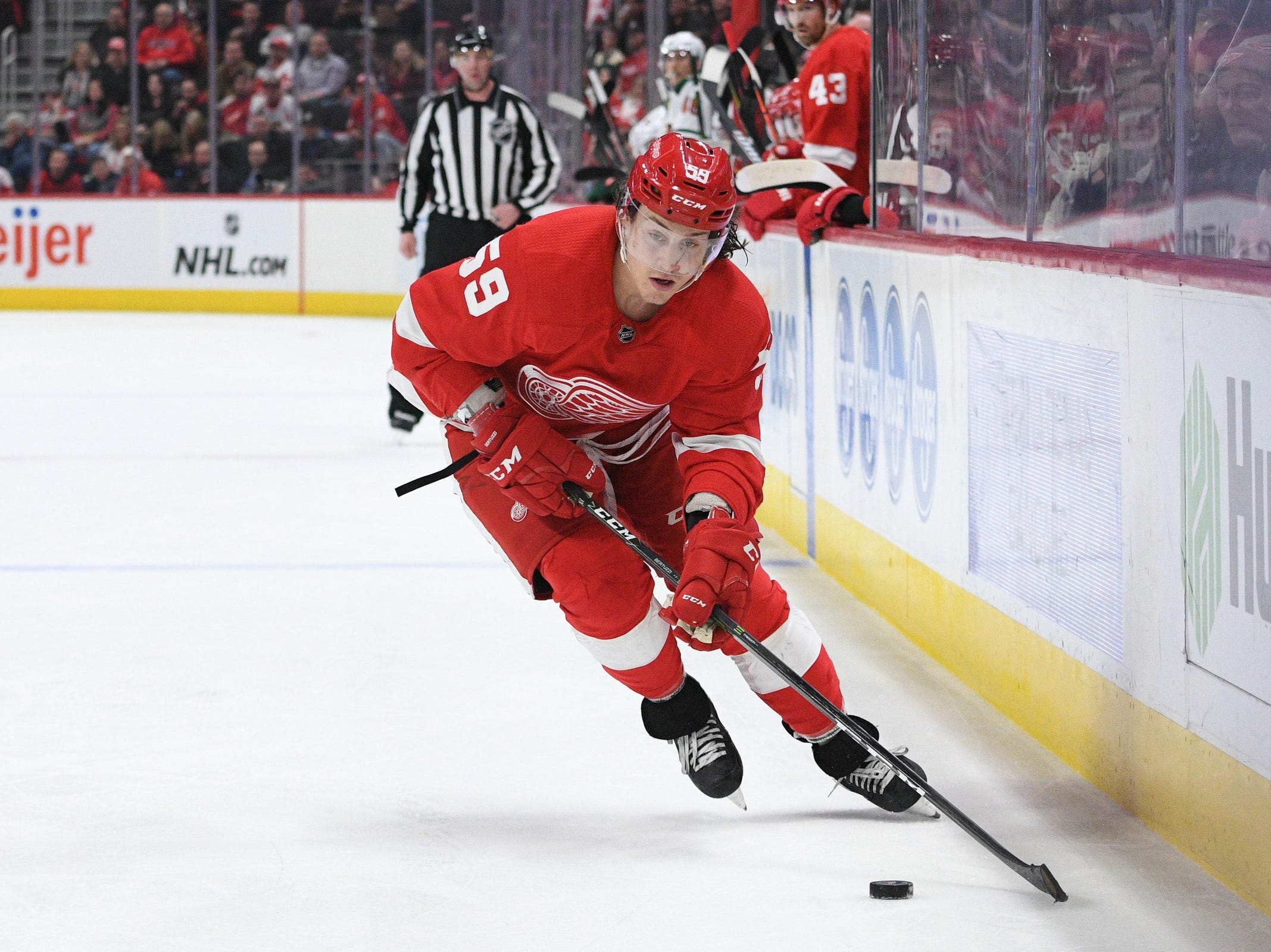 Detroit Red Wings left wing Tyler Bertuzzi (59) during the second period against the Minnesota Wild at Little Caesars Arena on Feb. 22, 2019.