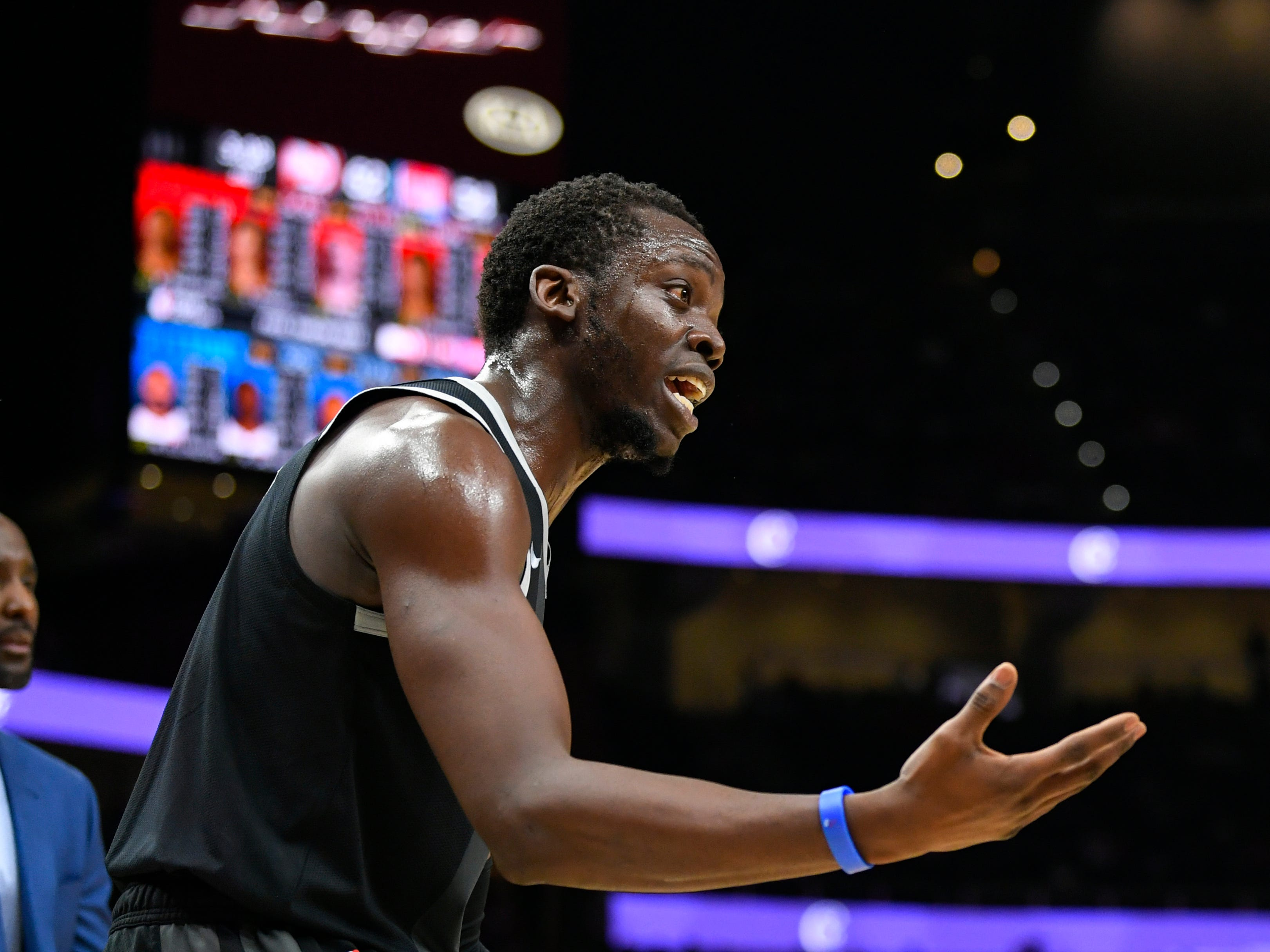 Detroit Pistons guard Reggie Jackson pleads for a call from referee Dedric Taylor during the first half against the Atlanta Hawks, Friday, Feb. 22, 2019, in Atlanta.