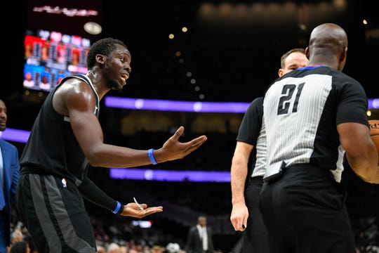 Reggie Jackson pleads for a call from referee Dedric Taylor during the first half Friday in Atlanta.