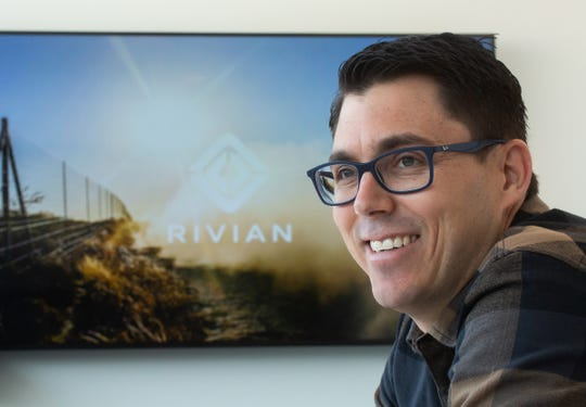 R.J. Scaringe, Rivian founder and CEO, talks about his electric vehicle startup on Thursday, February 21, 2019 at the business in Plymouth.