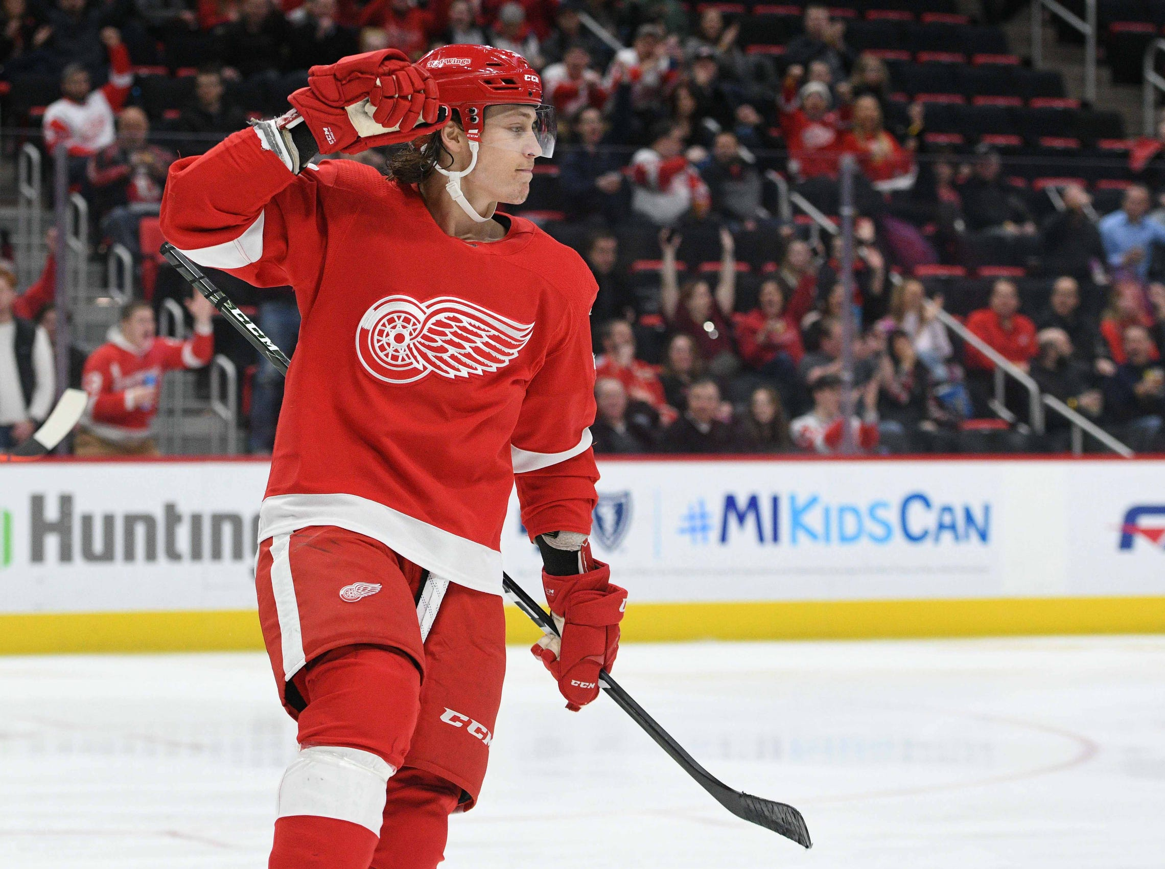 Detroit Red Wings left wing Tyler Bertuzzi (59) celebrates his goal during the second period against the Minnesota Wild at Little Caesars Arena on Feb. 22, 2019.